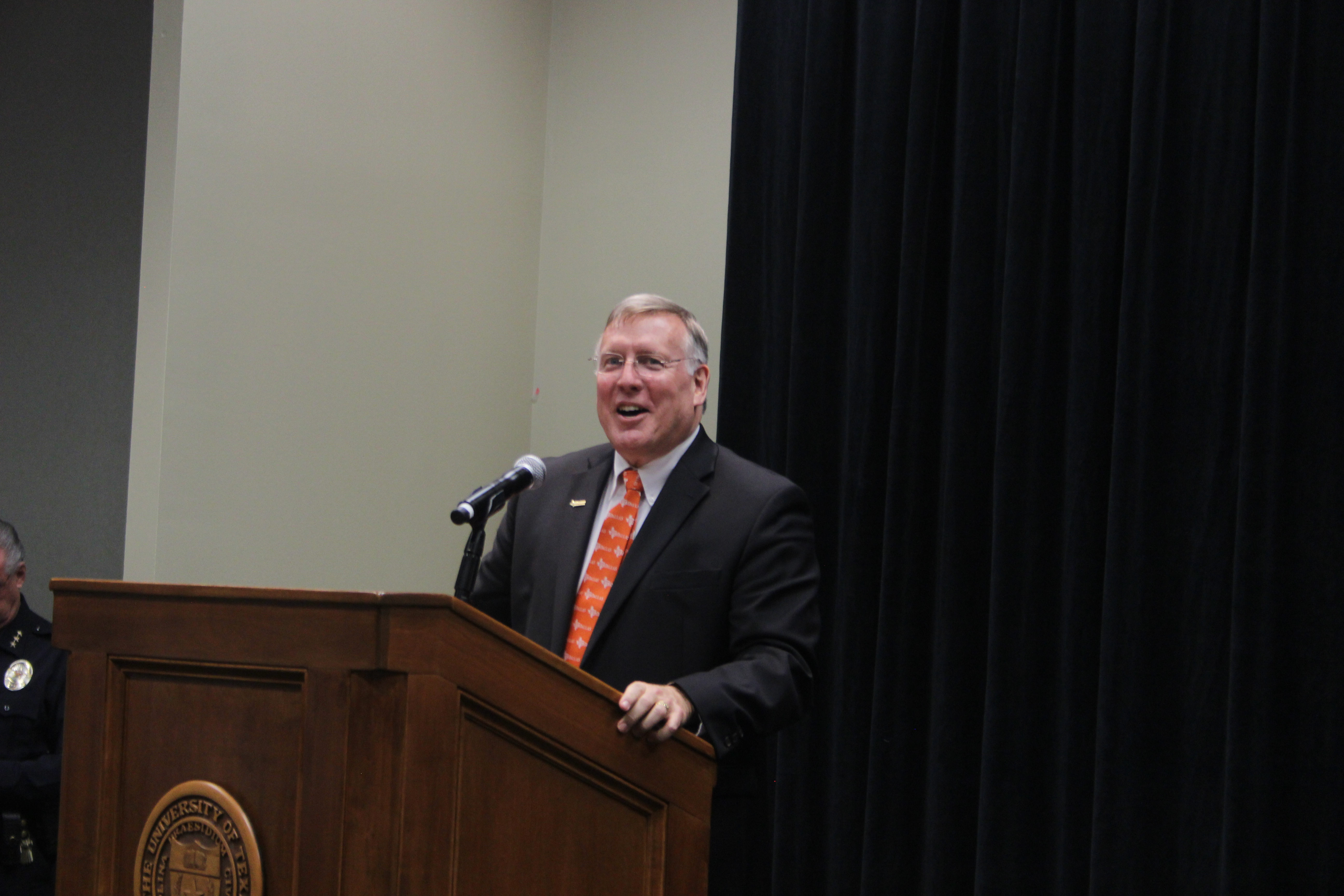 New university president makes first public appearance
