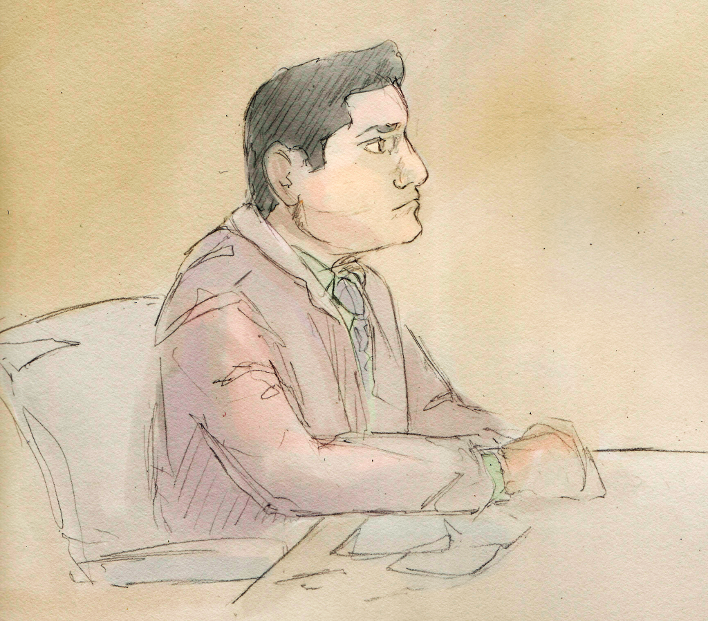 Enrique Arochi in the courtroom — Kevin VanHorn, graphics
