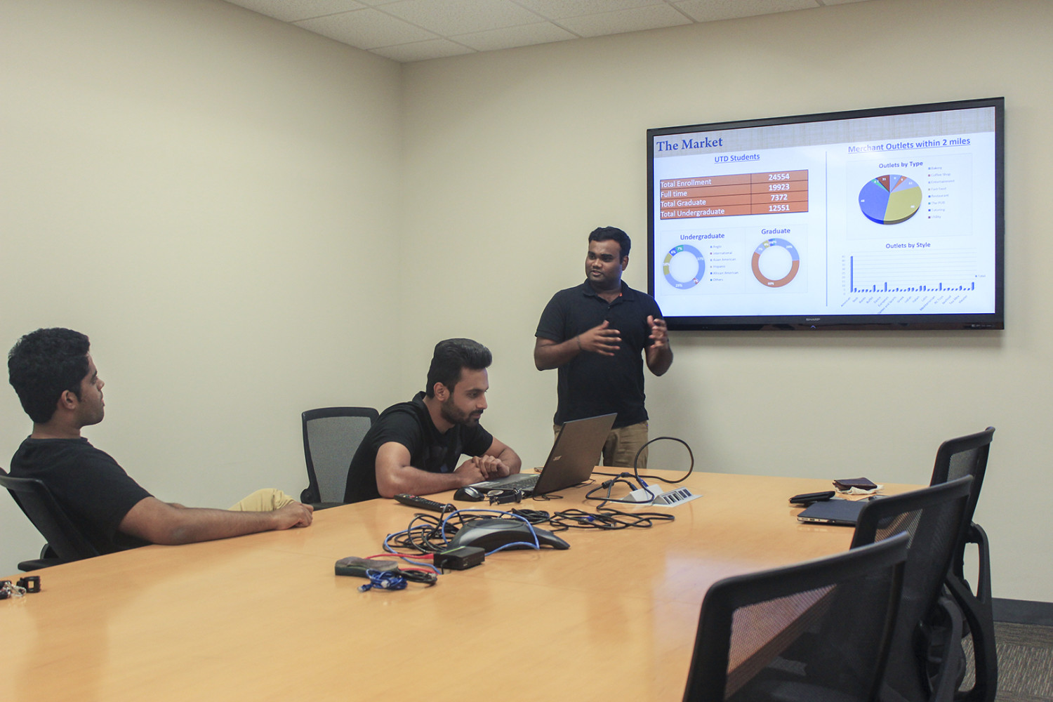 Sanjay Kurani (center), a supply chain management graduate student, said the UNIBEES team hopes to expand the app's user base to universities across Texas by December 2017. Photo by Ankith Averineni | Mercury Staff.