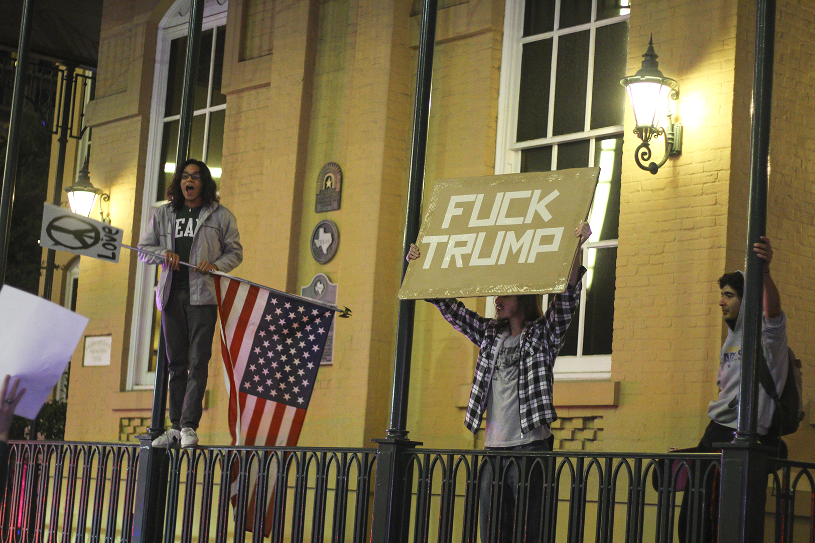 Students protest election results at downtown rally