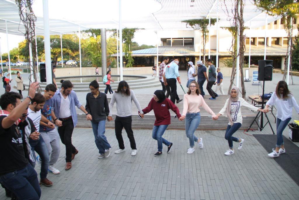 The Palestinian Dabke Association met on the Plinth on Nov. 17 from 4-7 p.m. Photo by Yash Musalgaonkar.